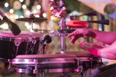 Hands on percussion, Street music background.  stock images