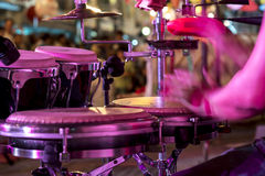 Hands on percussion, Street music background. Motion blur Stock Images