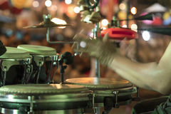 Hands on percussion, Street music background Stock Image
