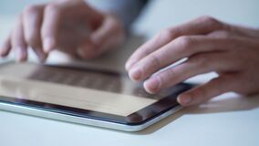 Hands of person using mobile app on modern tablet, banking services online. Stock footage stock video footage
