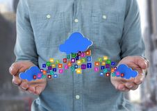hands with phone with application icons and cloud in each hand and other one in the middle panel ove Royalty Free Stock Photo