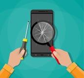 Hands, phone with broken screen, screwdriver Stock Photos