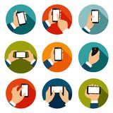 Hands with Phones Icons Set vector illustration