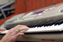 Hands pianist and piano player Stock Photo