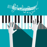 Hands on Piano Keyboard with Stuff and Notes vector illustration