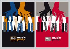 Hands and piano keys vector illustration. Royalty Free Stock Image