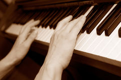 Hands of a piano player Royalty Free Stock Photo