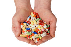 Hands with pills Royalty Free Stock Photography