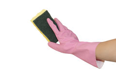 Hands in pink gloves. With pink sponge Stock Photo
