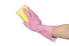 Hands in pink gloves wash. Hands in pink gloves with pink sponge Stock Photo