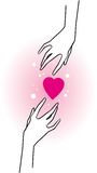 Hands and pink hearts. Two hands and pink hearts Royalty Free Stock Photos