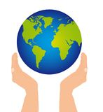 Hands and planet Stock Image