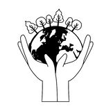Earth day card. Hands with planet forest earth day card vector illustration royalty free illustration