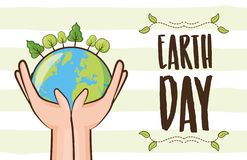 Earth day card. Hands with planet forest earth day card vector illustration stock illustration