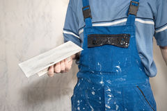 Hands plasterer at work Royalty Free Stock Images