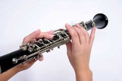 Hands playing Clarinet Royalty Free Stock Image