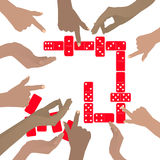 Hands playing dominoes red. On a white background. Illustration for your design Royalty Free Stock Image