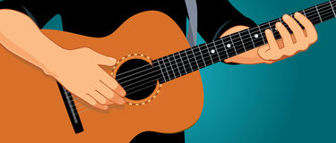 Hands playing guitar horizontal. Vector illustration of hands playing light brown acoustic guitar. Close up, blue-green background, horizontal format. You can Royalty Free Stock Image