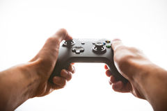 Hands playing joystick Royalty Free Stock Photo