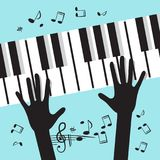 Hands Playing Piano with Notes. Vector Music Blue Background Stock Photography