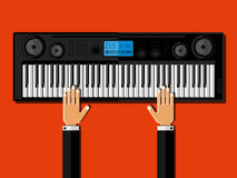 Hands playing the synthesizer. Flat design. Stock Photography