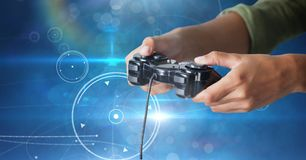 Free Hands Playing With Computer Game Controller Royalty Free Stock Image - 102013546