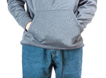 Hands in a pocket. Royalty Free Stock Photo