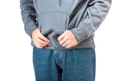 Hands in a pocket. Royalty Free Stock Images