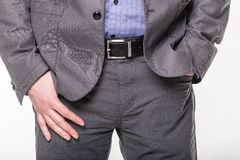 Hands in the pockets of a man in a suit Royalty Free Stock Image