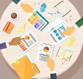 Hands Point Finger Business Graph Charts Diagram. Businessmen Finance Document Desk Flat Vector Illustration Stock Images
