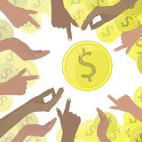 Hands pointing at dollars of gold coins a lot Stock Image