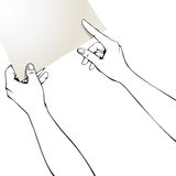 Hands pointing finger on paper. Stock Photo