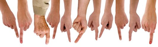 Hands and pointing fingers Stock Image