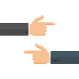 Hands with Pointing Fingers Left and Right Vector Illustration. Hands with pointing fingers to each other, left and right directions. Flat style vector Royalty Free Stock Photo