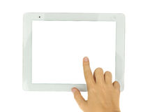 Hands  pointing at modern tablet PC. Hand pointing at modern tablet PC isolated on white background with copy space Royalty Free Stock Photos