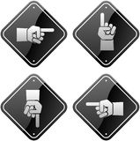 Hands pointing signs Stock Images