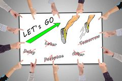 Action concept on a whiteboard. Hands pointing to action concept Stock Images