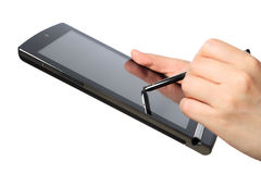 Hands pointing touch screen tablet pc Royalty Free Stock Photography