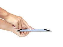 Hands are pointing on touch screen ,touch- table Stock Photo