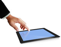 Hands are pointing on touch screen ,touch- tablet Royalty Free Stock Photo