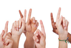 Hands pointing up Royalty Free Stock Photography