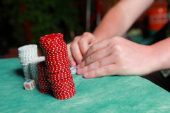 Hands of poker player Royalty Free Stock Photos