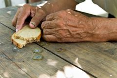 Hands the poor old man`s, piece of bread and change, pennies on wood background. Stock Photo