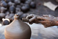 Hands of a potter Royalty Free Stock Photography