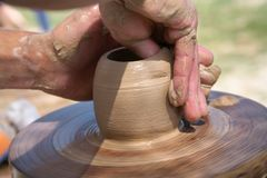 Hands of the potter Royalty Free Stock Photography