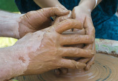 Hands of a potter Royalty Free Stock Photo
