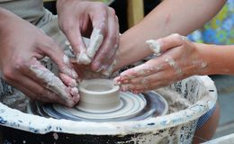 Hands potter at work royalty free stock photo