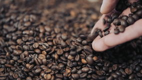 Hands pouring coffee in slow motion stock video footage
