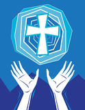 Hands Praising and Cross in Sky Stock Photo