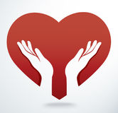 Hands pray in a heart shape vector. EPS10 Stock Image